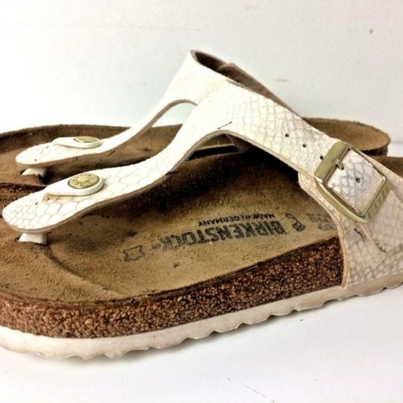 60637e16067c Birkenstock Shoes - Birkenstock Gizehs White Thong Sandals 39 L 8
